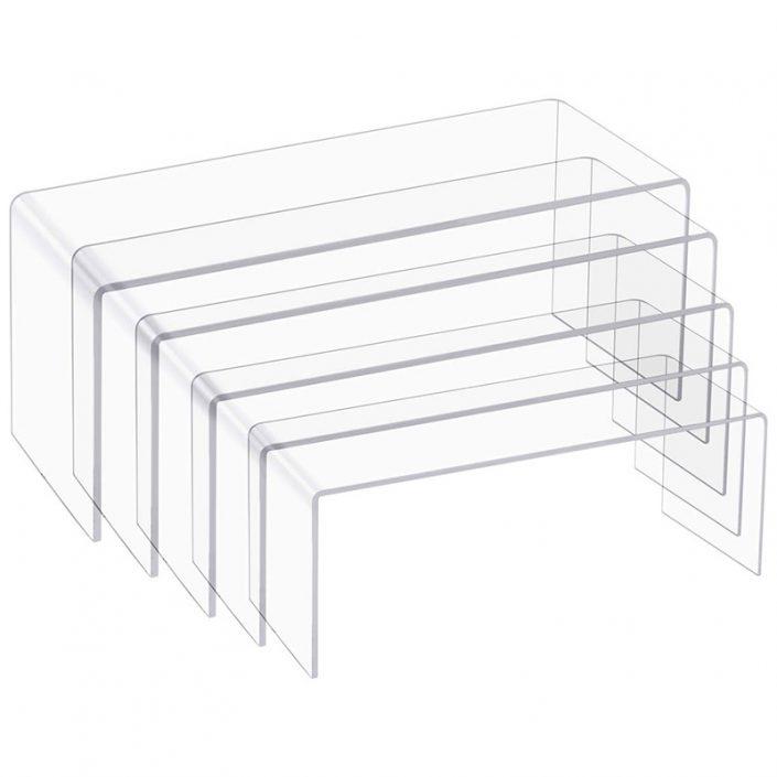 U Shape 5 Sizes Large Clear Jewelry Display Shelf Cake Donut Candy Acrylic Display Riser -1