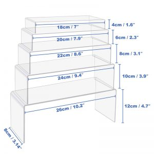 U Shape 5 Sizes Large Clear Jewelry Display Shelf Cake Donut Candy Acrylic Display Riser