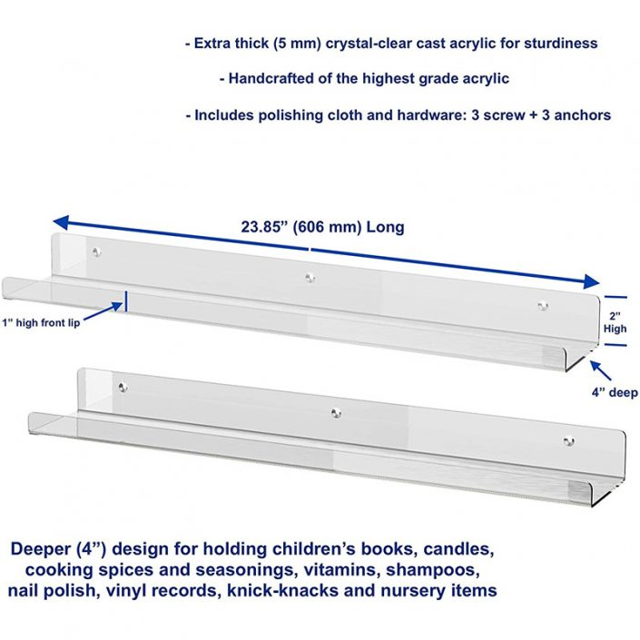 "Acrylic Wall Clear Hanging Floating Shelves 24""x4"" Display Ledges -6"