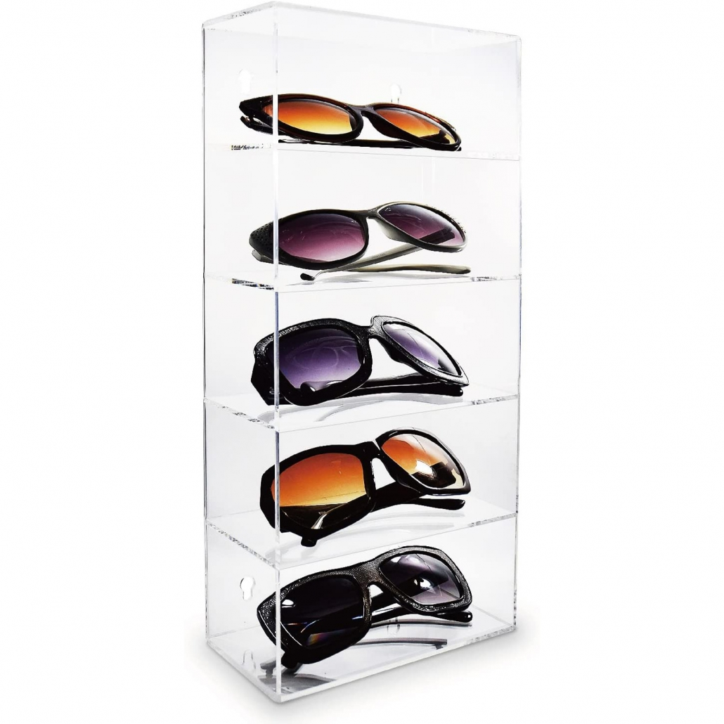 5 Tiers Wall-Mounted Display Case Eyewear Holder Stand