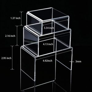 3 Sizes Clear Acrylic Display Risers Jewelry Showcase Fixtures Shelf