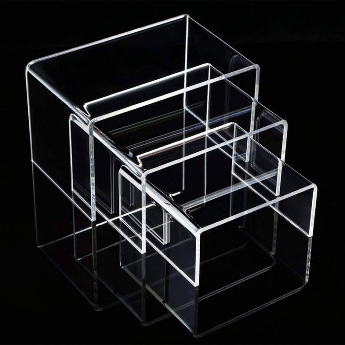 3 Sizes Clear Acrylic Display Risers Jewelry Showcase Fixtures Shelf -3