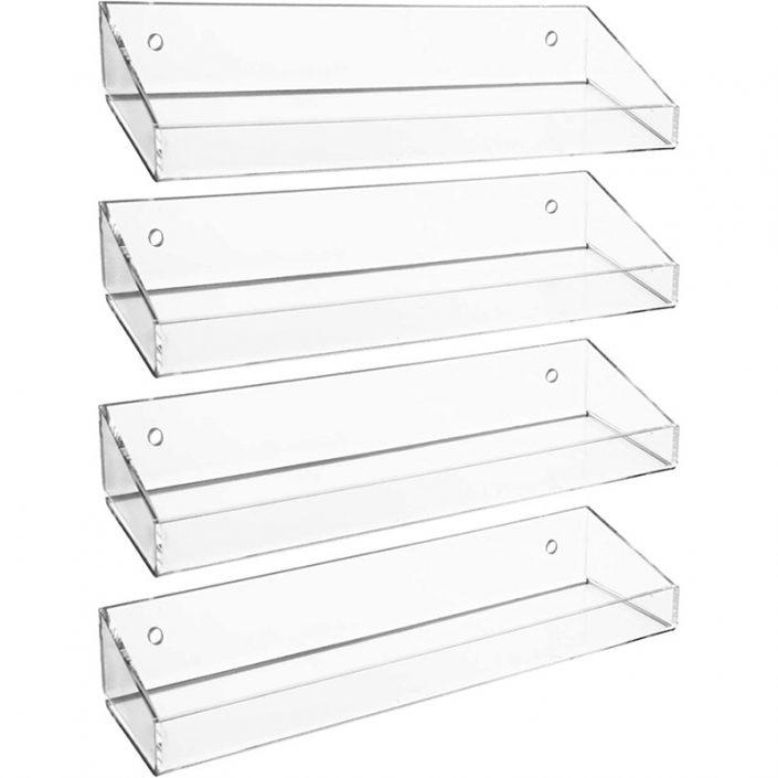 "Clear Floating Wall Mounted Bathroom Acrylic Display Shelves 15""x4.8"""