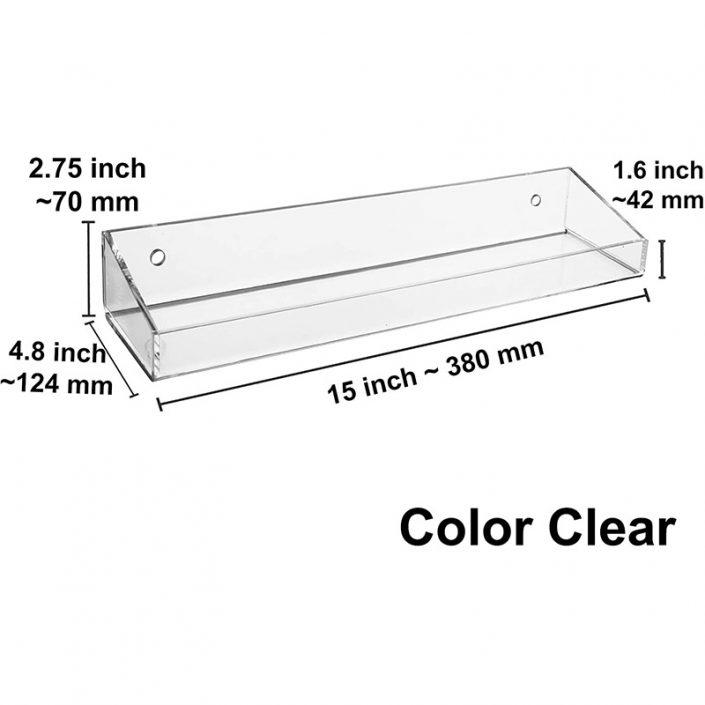 "Clear Floating Wall Mounted Bathroom Acrylic Display Shelves 15""x4.8"" -6"