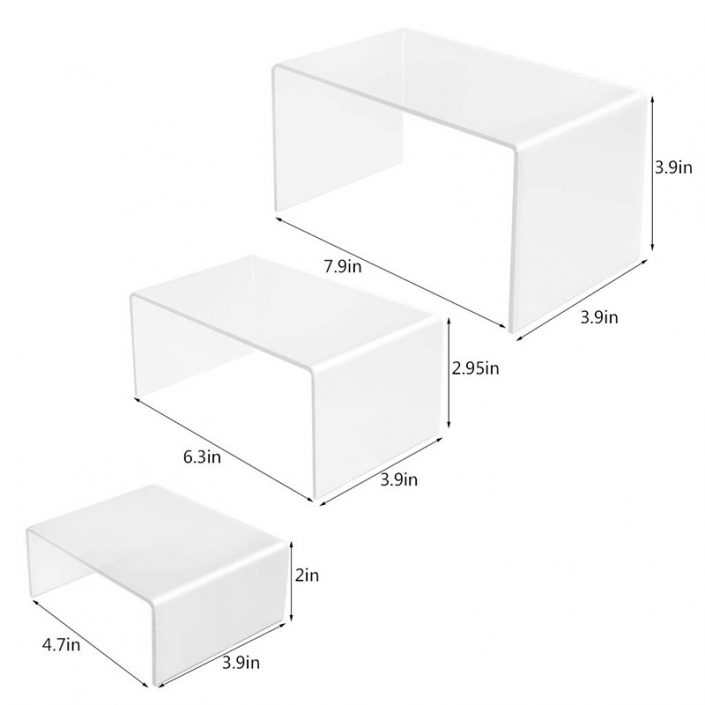 Clear Acrylic Display Risers Shelf 3 Pack Showcase Fixtures for Jewelry