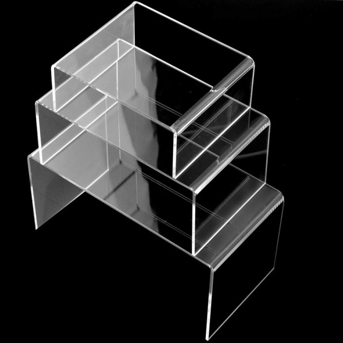 Clear Acrylic Display Risers Shelf 3 Pack Showcase Fixtures for Jewelry -2