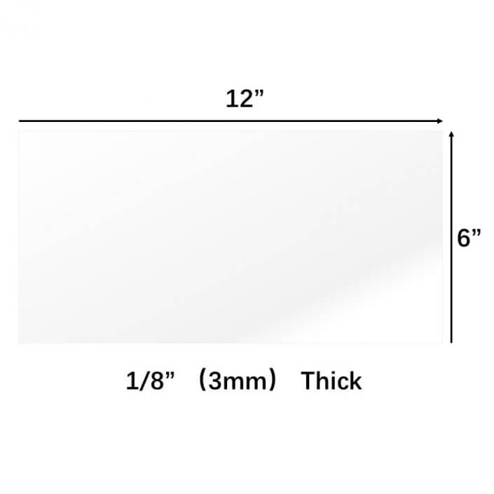 "Clear Cast Plexiglass 1/8"" Thick (3mm) 6"" x 12"" Small Panel Acrylic Sheet"