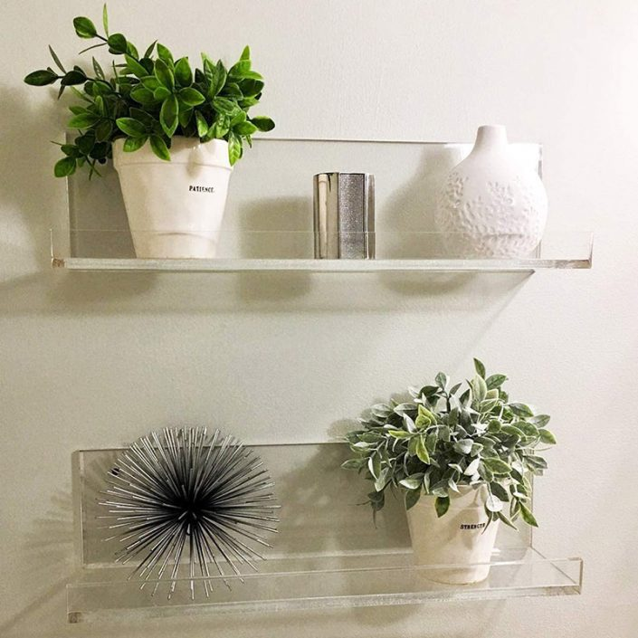 Invisible Spice Rack Clear Acrylic Floating Wall Mounted Ledge Shelf 38x10 cm -4
