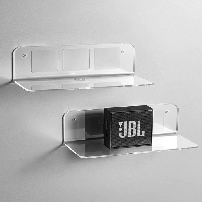 "L Shape Clear Wall Mounted Floating Shelves With Cable Clips 9""x3.1"" -8"