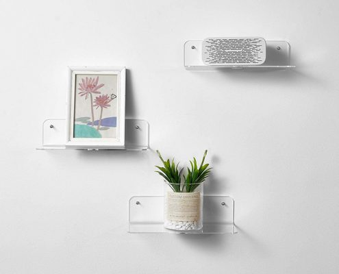 """Acrylic Floating Shelves L Shape Clear Wall Mounted Floating Shelves With Cable Clips 9""""x3.1"""" -7"""