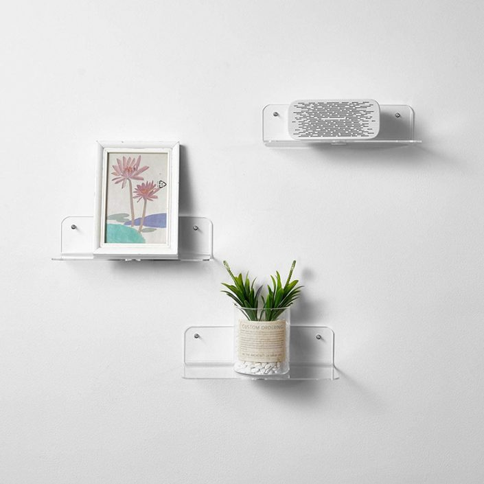 "Acrylic Floating Shelves L Shape Clear Wall Mounted Floating Shelves With Cable Clips 9""x3.1"" -7"
