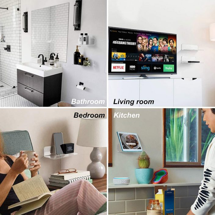 """L Shape Clear Wall Mounted Floating Shelves With Cable Clips 9""""x3.1"""" -6"""