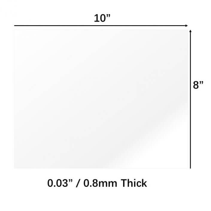 "8x10"" PET Sheet Plexiglass Panels 0.03"" Thick Acrylic Sheet"