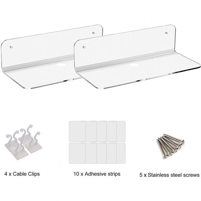 "L Shape Clear Wall Mounted Floating Shelves With Cable Clips 9""x3.1"" -2"