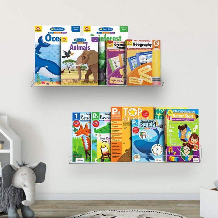 "Wall Mounted Hanging Spice Rack Kids Book Shelves Bathroom Organizer 15""x4"" -7"