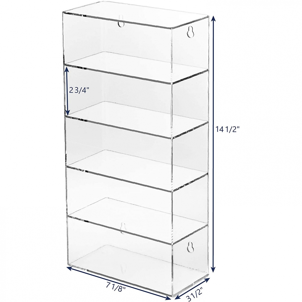 Clear 5 Tiers Wall-Mounted Display Case Eyewear Holder Stand