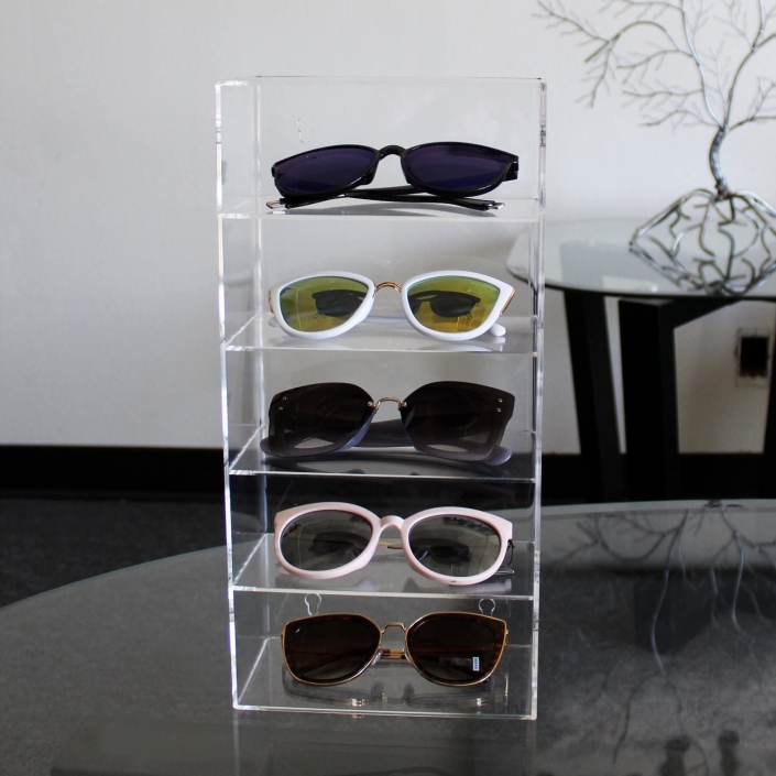 Portable 5 Tiers Wall-Mounted Display Case Eyewear Holder Stand