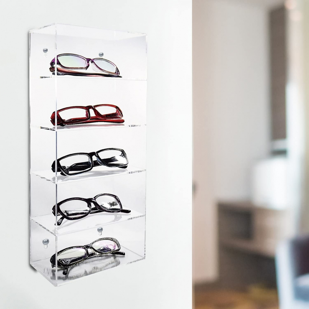 Wholesale 5 Tiers Wall-Mounted Display Case Eyewear Holder Stand