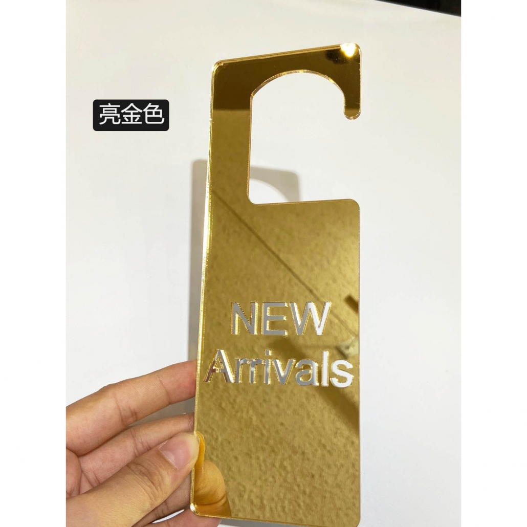 Acrylic new arrival sign golden mirror color