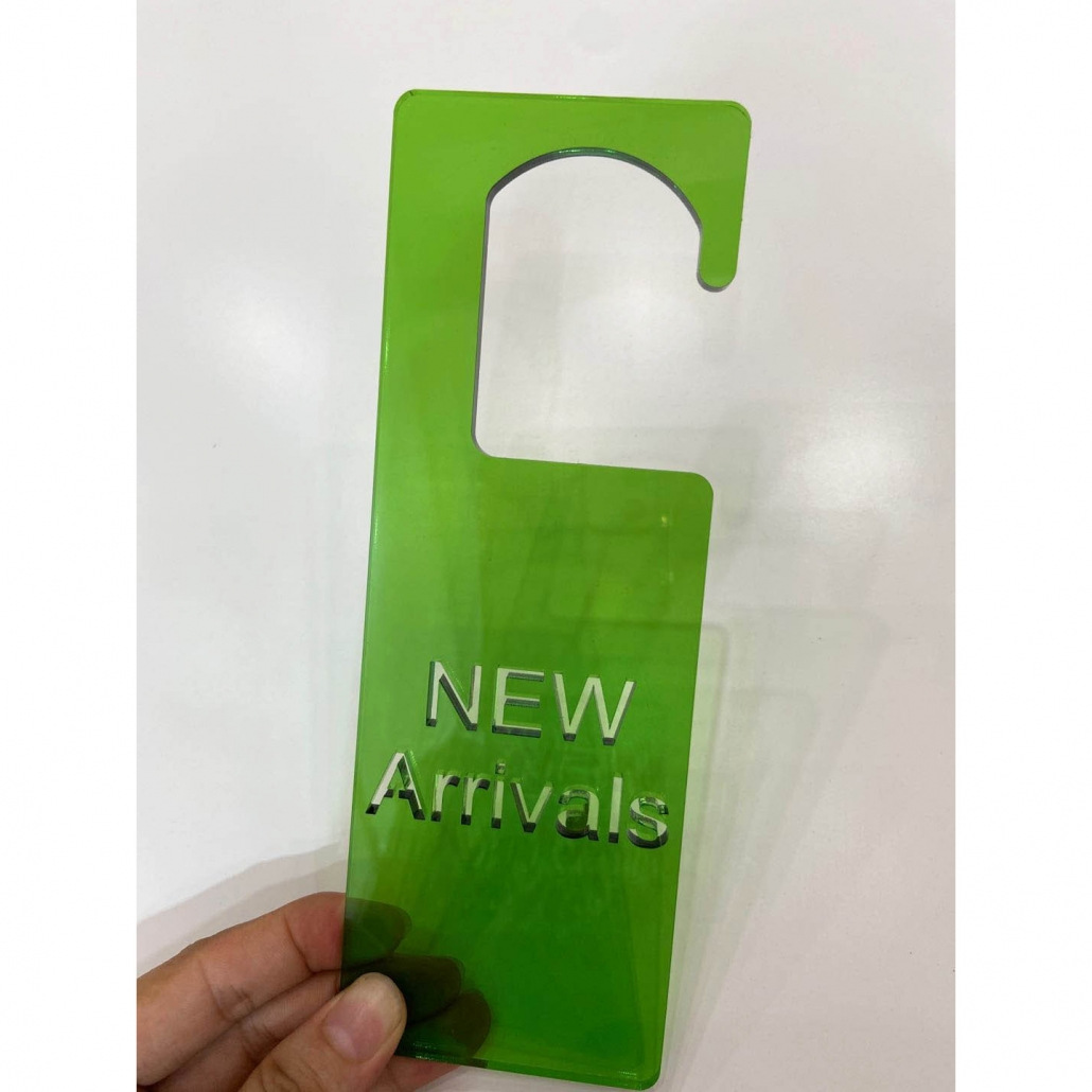 Acrylic new arrival sign green color