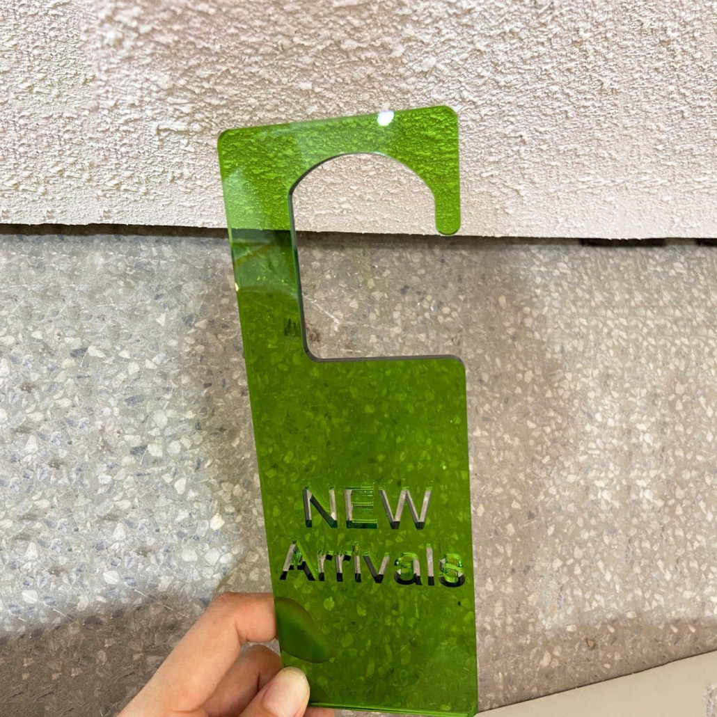 Acrylic new arrival sign transclucent green color