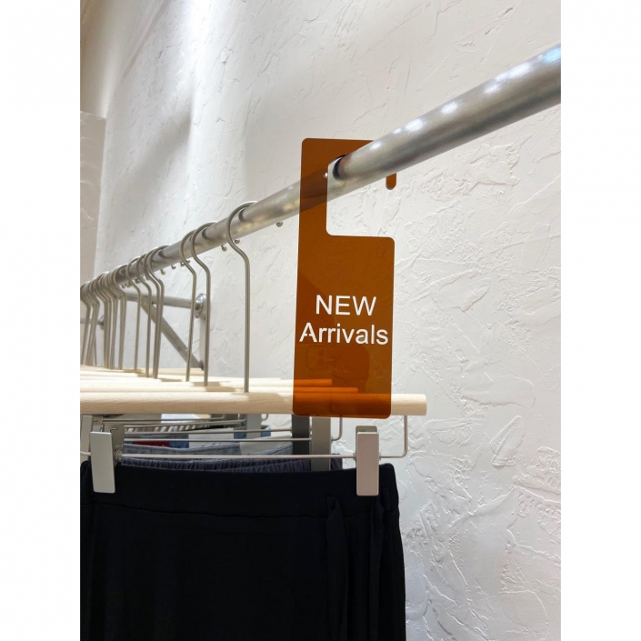 Acrylic new arrival signage for boutiques