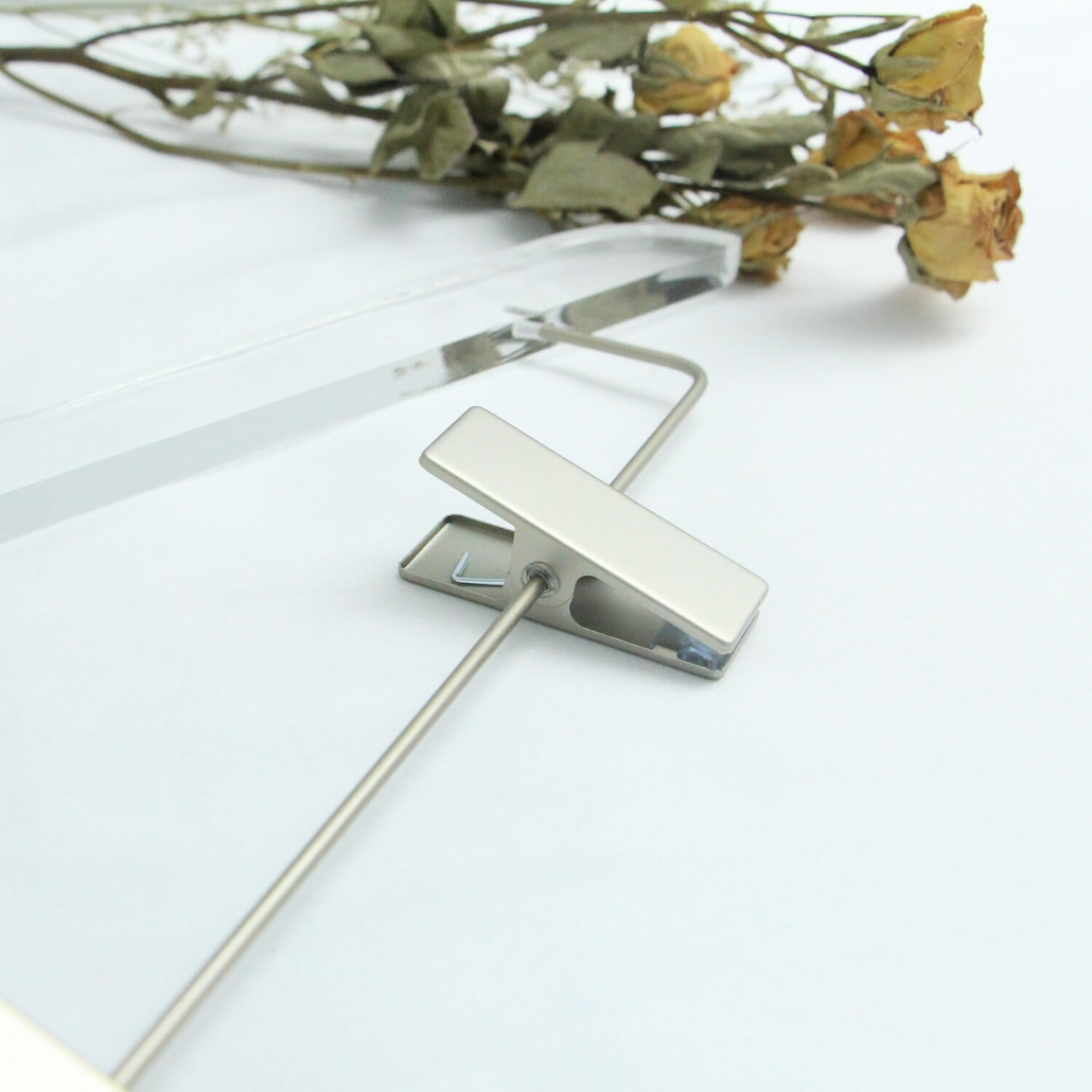 Chrome Clamp of the Clear Lucite Hanger