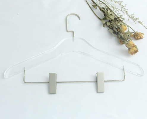 Clear Acrylic Clothes Hangers With Drop-down Clamps