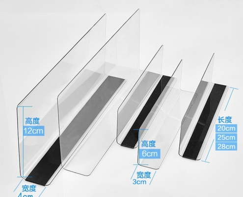 Clear acrylic shelf divider with self-adhesive stripe or magnetic tape