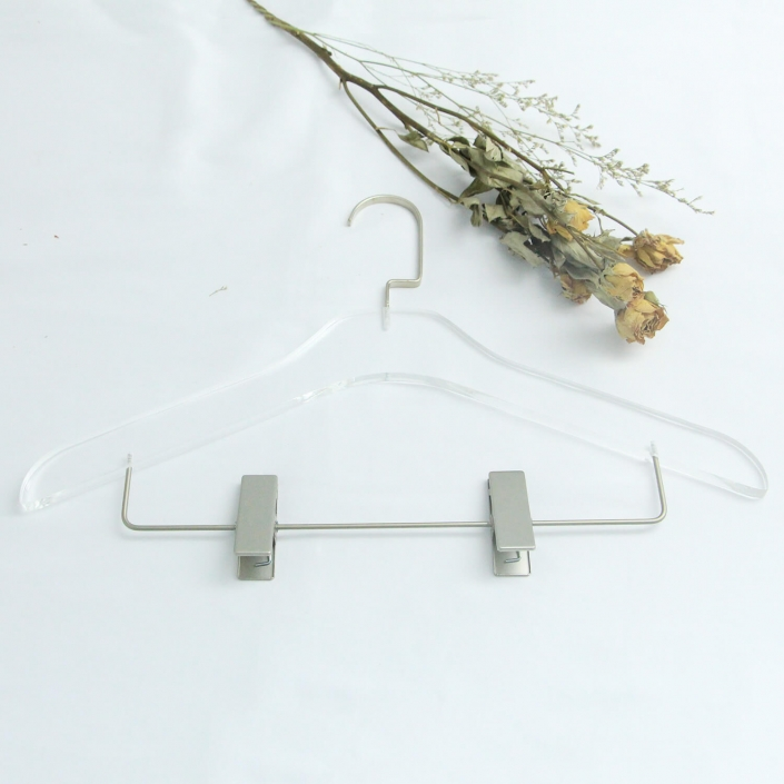 Invisible Acrylic Hanger With Chrome Clips For Suits Coats