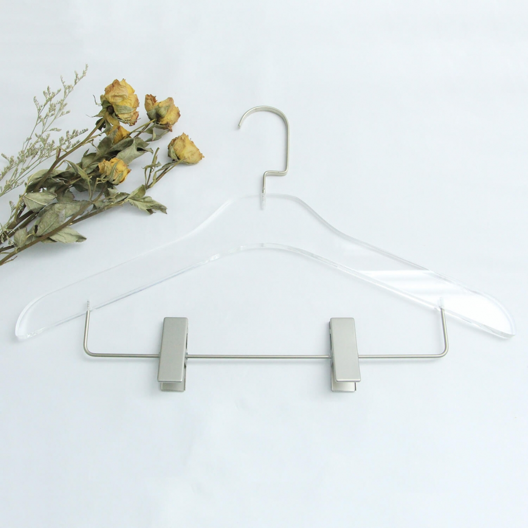 Invisible Acrylic Hanger With Clips For Pants Dress Skirts