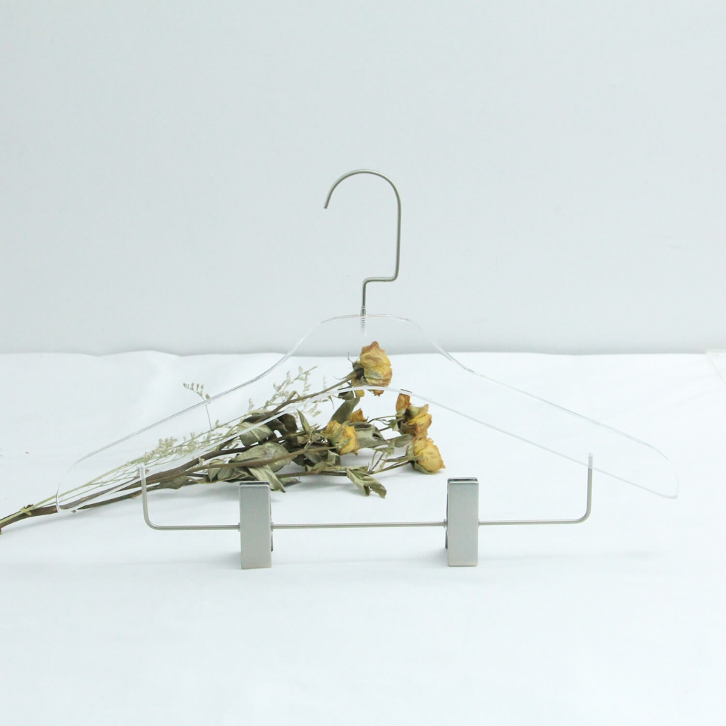 Transparent Clothes Hanger with Chrome Clips