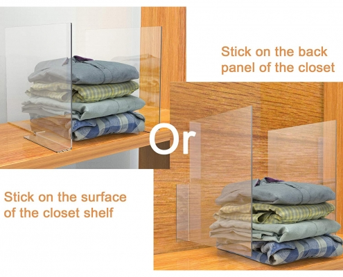 Two ways of installation to make different style of your closet by the acrylic shelf divider