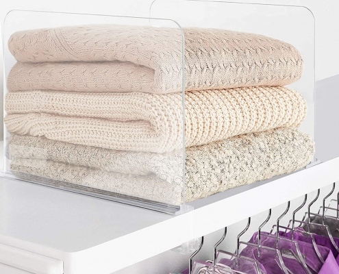 Universal acrylic shelf divider for closets