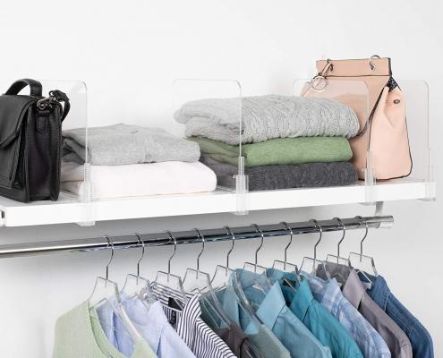 acrylic shelf divider Use acrylic shelf dividers to get a neat closet 1
