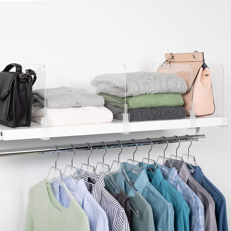 acrylic shelf divider Use acrylic shelf dividers to get a neat closet