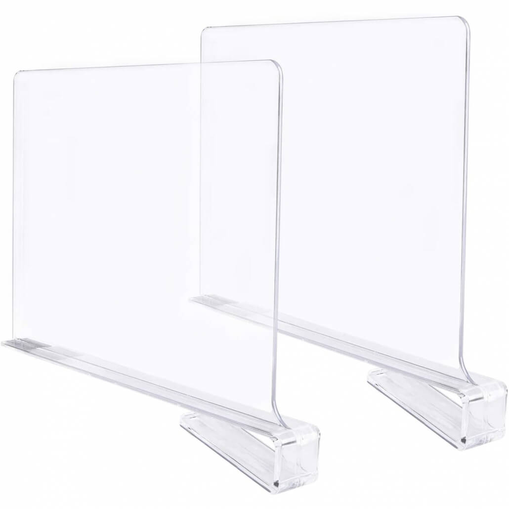 acrylic shelf divider clothes organizer