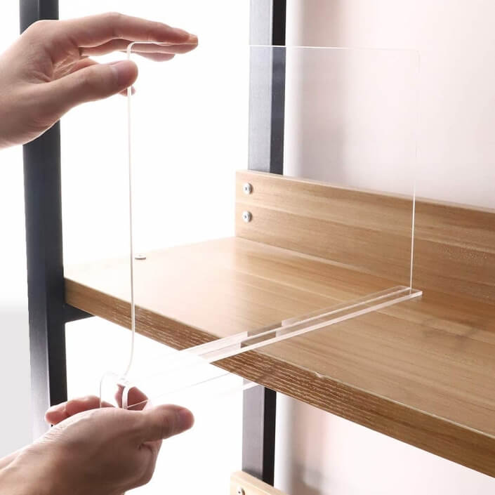 acrylic shelf divider for bedroom bathroom office