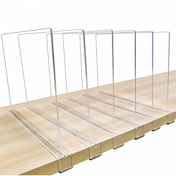 acrylic shelf divider for closet wood shelves