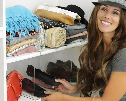 acrylic shelf dividers to organize your closets tidy and neat