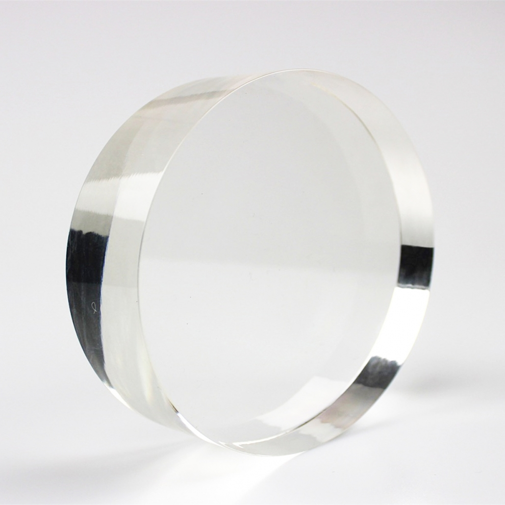 round acrylic block clear perspex cube