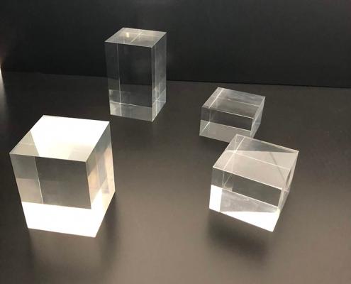 square acrylic blocks display riser stands