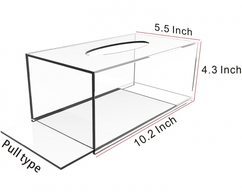 Clear Acrylic Rectangle Tissue Box - 10.2x5.5x4.3 in-3