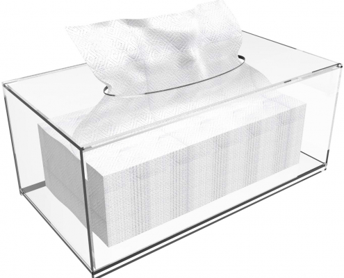 Clear Acrylic Rectangle Tissue Box - 10.2x5.5x4.3 in-2