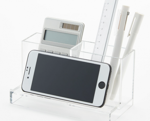 Acrylic Tabletop Organizer Stand For Pen & Smartphone