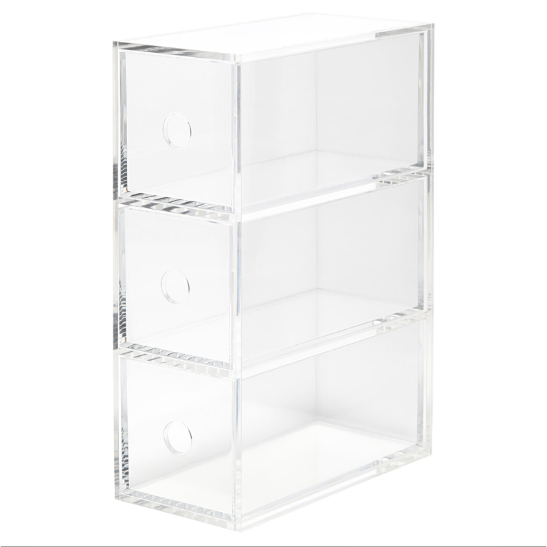 Acrylic Storage Box With 3 Drawers