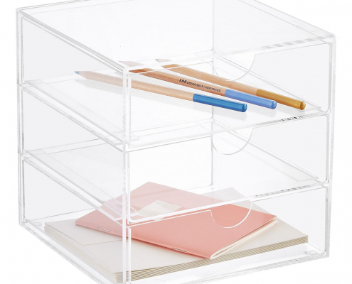 Premium Acrylic Office Supplies Organizer Case With Drawer
