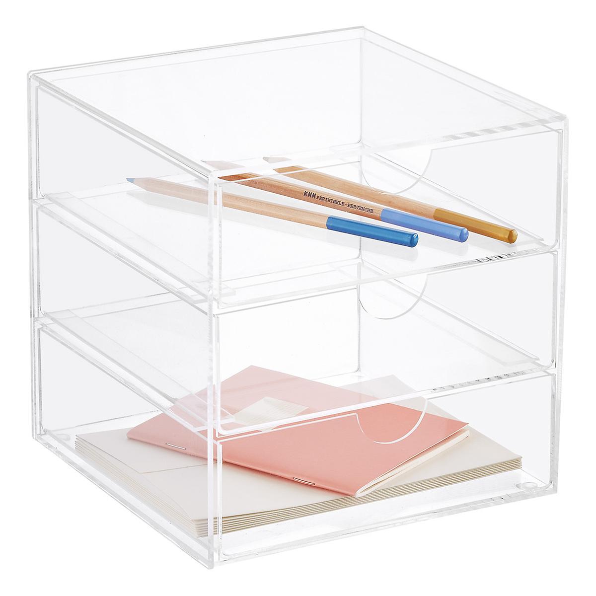 Premium Acrylic Office Supplies Organizer Case With Drawer