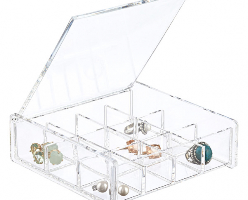 Aceylic Cube Box With Lid - 12 Sections