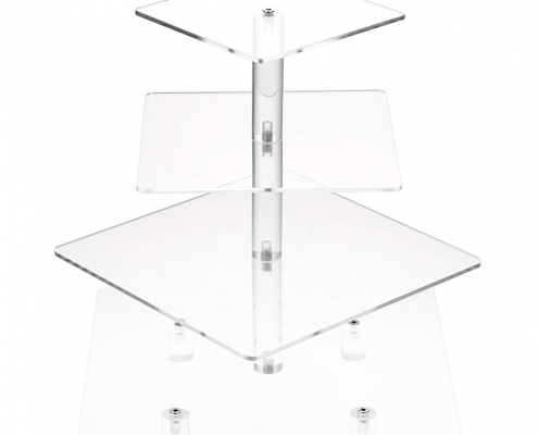 Square Acrylic Clear 4 Tier Cupcake Display Stand-3